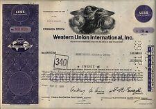 Western Union International Stock Certificate Purple