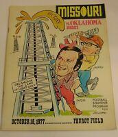 Vtg 1977 Missouri Tigers vs Oklahoma Sooners NCAA Football Program Barry Switzer