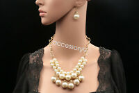 wedding party cream lucite bead statement collar chain necklace earrings set N90