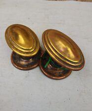 Pair of Vintage Antique Brass Door Knobs Handles Victorian Oval