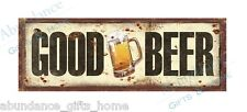 'Good Beer' Rustic Tin Metal Wall Sign - Distressed Man Cave & Bar Plaque