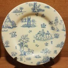 """Wood & Sons TOILLE DE JOUY BLUE Salad plate, 8 1/2"""", England, Excellent"""