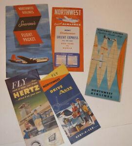 VINTAGE 1953 NORTHWEST AIRLINES FLIGHT PACKET! ORIENT EXPRESS/MAP/STRATOCRUISER+