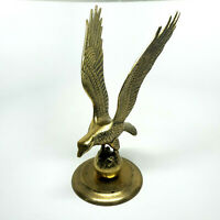 Vintage Large Solid Brass Eagle On Perch 11 inches Tall