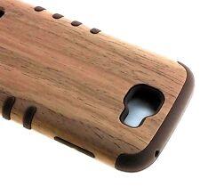 For LG K3 - HARD&SOFT RUBBER HYBRID ARMOR IMPACT SKIN CASE COVER BROWN WOOD OAK