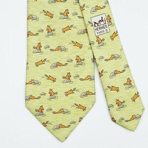 HERMES TIE 7959 EA Racoon on Light Green Classic Silk Necktie