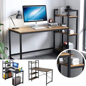 Corner Gaming Desk Computer Desk with 4 Tiers Bookcase Storage Shelves PC Tabkle
