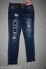 Jr Womens DARK BLUE RIPPED SKINNY JEANS Patched ALMOST FAMOUS Released Hem SZ 5