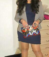 Zara Accesorios Lentejuelas Clutch Bag Orange Plata Negro Azul RRP £ 49.99
