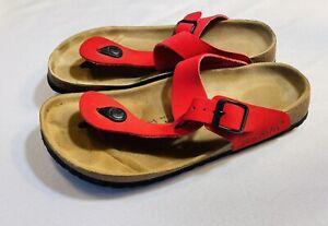 Betula Birkenstock Red Gizeh Sandals Shoes Women's Size US 8 Euro 39 - Narrow