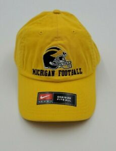 University of Michigan Wolverines Football Hat Nike Team Strapback Yellow Cap