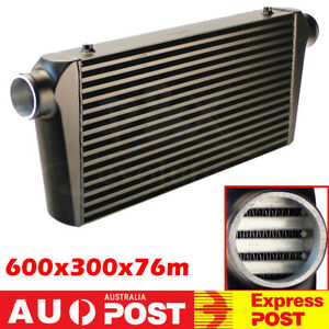 600X300X76mm Bar & Plate Intercooler Front Mount 3'' Inlet /Outlet For Universal