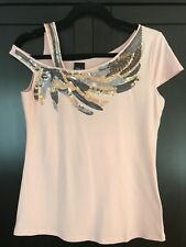 Beautiful Evening Beaded Peach Top One shoulder Detail- Size M