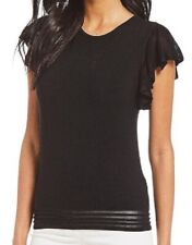 Antonio Melani Women Top Madi Ruffle Mesh Hem Sleeve Knit Black Top M