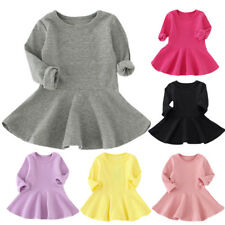 Kids Baby Girls Dress Long Sleeve Solid Cotton Party Pageant Tutu Fall Dress