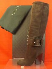 NIB GUCCI BROWN SUEDE KESHA BUCKLE KNEE HIGH BOOTS 35 5 $1150