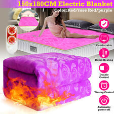 160W Queen Size Electric Heated Flannel Blanket Cover Heater + Timing Controller