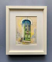"""Original Framed Watercolour """"The Green Door"""" Villefranche-sur-Mer, Côte d'Azur."""