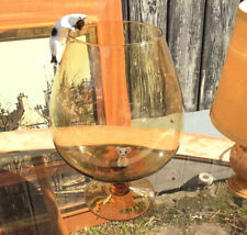 VINTAGE RETRO 1960'S Amber LARGE GLASS BRANDY SHAPED GLASS CAT & MOUSE