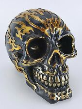 NEW Collectible BLACK SKULL & COPPER TRIBAL DESIGN Handpainted Resin Statue
