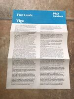 P&O CRUISE PORT MAP AND GUIDE PAMPHLET VINTAGE VIGO SPAIN FROM SS CANBERRA 79