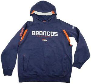 Vintage 90's Reebok Denver Broncos AFC West NFL Hoodie Blue Orange Size XL