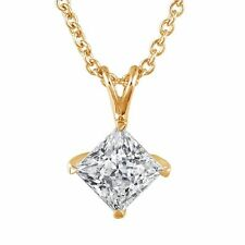 set in 14k yellow gold Ppn-20Y Princess Cut Pendant with .20Ct diamond