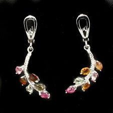 2ct Multi-Coloured Tourmaline Lever-Back Earrings in 925 Sterling Silver
