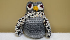 """8"""" Drunk Owl, Hand Crocheted, Knit, Sweater, Doll, Toy, Stuffed Animal"""