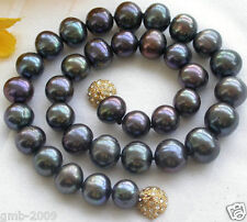 "Genuine Natural 9-10MM Black Akoya Freshwater Pearl Necklace 18""AAA++"