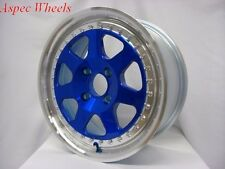 16X7 ROTA J MAG WHEELS 4X100 RIMS +40MM BLUE W/POLISH LIP (SET OF 4 )