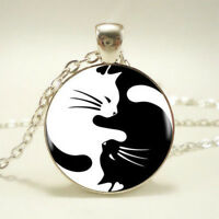 Cute Yin Yang Cat Pendant Choker Statement Silver Necklace Women Jewelry Gift