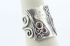 AS Israel Sterling Silver 925 Amethyst Resin Cabochon Swirl Style Ring - Size 9