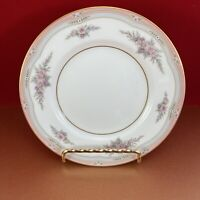 """Wedgwood Rosalie Bread & Butter Plate 6""""  Bone pink grey bands and floral border"""