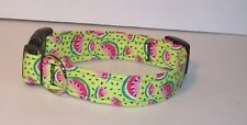 Wet Nose Designs Juicy Watermelon Slices Dog Collar on Lime Green Summer
