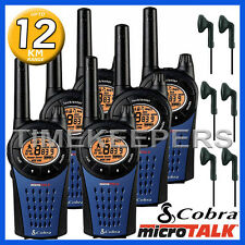 12KM COBRA MT975 Walkie Walkie-talkie 2 due modo PMR 446 RADIO sei + 6x Cuffie