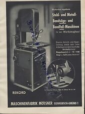 SCHWÄBISCH-GMÜND, Werbung 1939, Maschinen-Fabrik Mössner rekord Stahl-Bandsäge