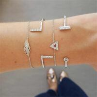 Women 4Pcs/Set Crystal Triangle Simple Adjustable Open Bangle Bracelets Jewelry