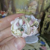 Dollhouse ARTISAN EMBROIDERY SEWING BASKET Vtg Miniature Artist Handmade Woven
