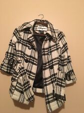 Womens Joujou Off White And Black Plaid Coat Size Small