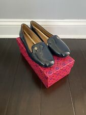 NEW IN BOX Tory Burch SAMANTHA Slipper Loafers SIZE 7.5 In Navy Patent Leather