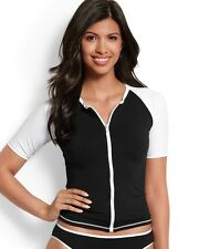 Tommy Bahama Deck Piping Short Sleeve Zip Rash Guard Black & White LARGE $84 NWT