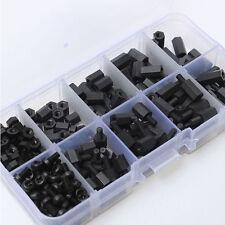 300Pcs/Set Nylon M3 Hex Male-Female Standoff Spacers Screw Nut Kit Box Black#K