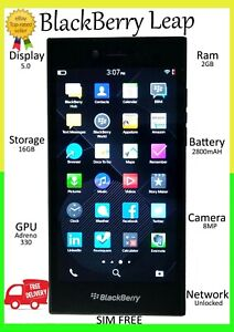"BlackBerry LEAP 16GB BLACK =UNLOCKED= GPS 5.0"" Smartphone SIM FREE UK GRADE A"