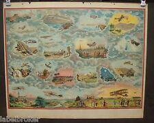 ANTIQUE PRINT VINTAGE 1920 POSTER GAME BOARD AVIATION WWI ORIGINAL AIRPLANES