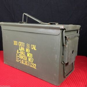US Military .50 Cal  5 . 56 m m Ammo Weatherproof Can Metal Storage Box | EUC