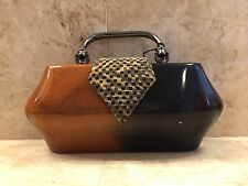 "TIMMY WOODS ""DONNA"" RARE MINAUDIERE CLUTCH INCREDIBLE NATURAL POLISHED ART BAG"