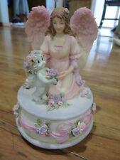 Dreamsicles Angel Cherub Pink Purple Floral Princess Music Box Nice Shape +