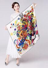 """UScarmen Women's 100% Pure Silk Square Scarf 34"""" x 34"""" 02005 Multi-Color Floral"""