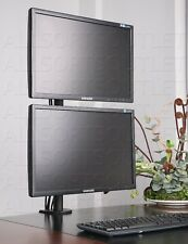 VERTICAL DOUBLE MONITOR MOUNT DUAL LCD STAND CLAMP ADJUSTABLE 2 SCREENS 15-27""